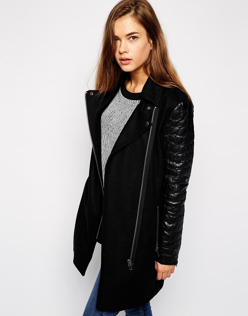 Mbym longline jacket with pu sleeves & asymmetric zip at asos.com