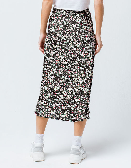 KNOW ONE CARES Ditsy Floral Midi Skirt - BLACK - 347048100   Tillys