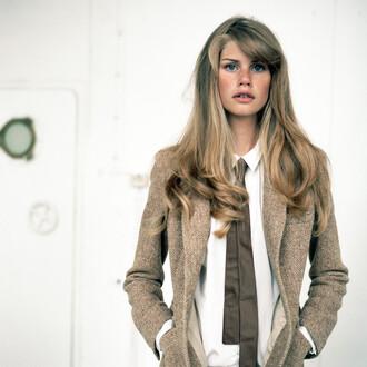 jacket tweed brown tie white blouse blouse