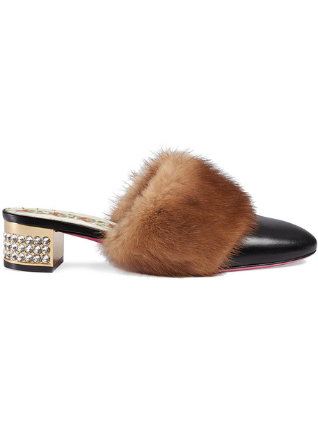 gucci fur women leather black shoes