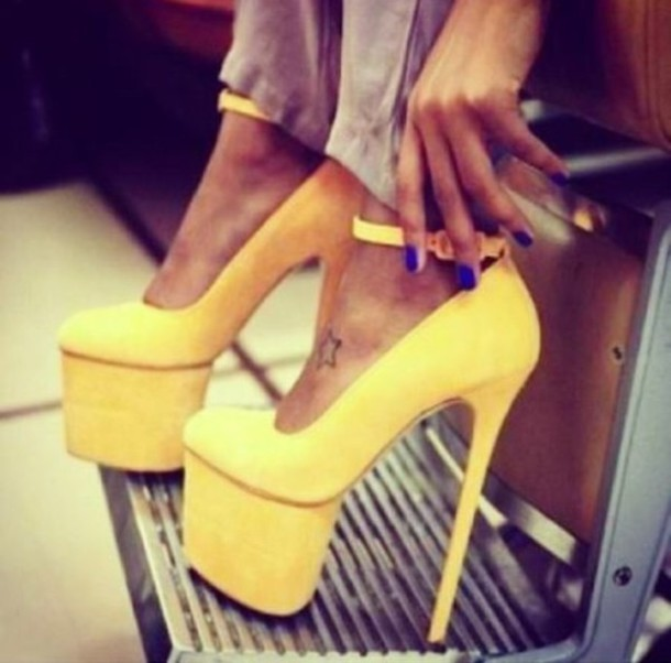 shoes yellow high heels platform high heels
