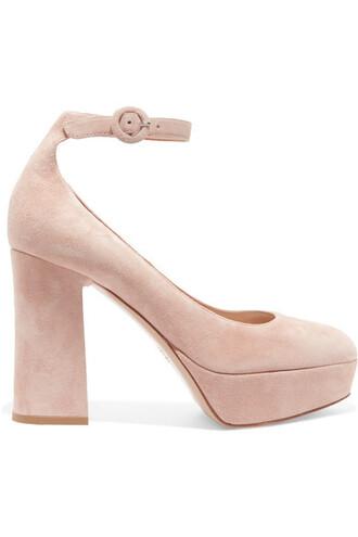pumps platform pumps suede neutral shoes