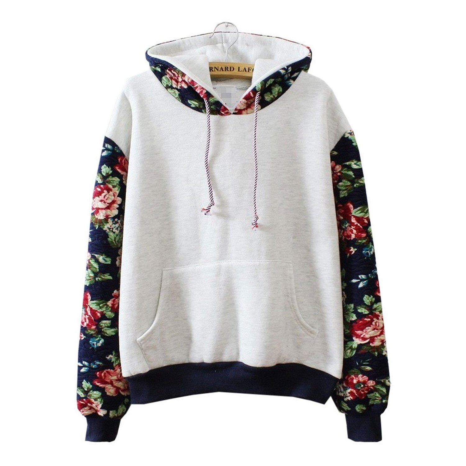 Hoodies Sweater Pullover Warm Fleece Lined Flowers Sleeve Grey ...