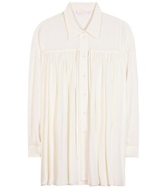 blouse pleated white top