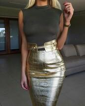 skirt,gold,gold skirt,leather skirt,midi leather skirt