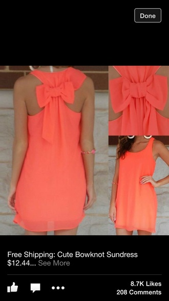 dress sundress bow tie dress coral dress