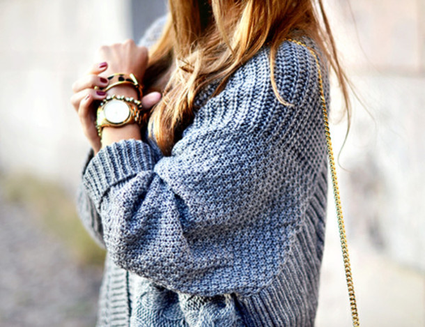 Sweater: blue sweater, knitted sweater, baggy sweaters, cardigan ...