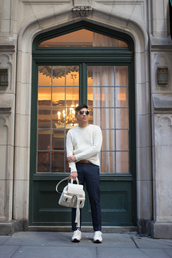 bryan boy,blogger,menswear,leather backpack,sweater,belt,pants,shoes