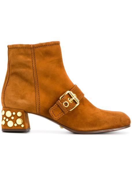 Car Shoe studded women ankle boots leather brown shoes