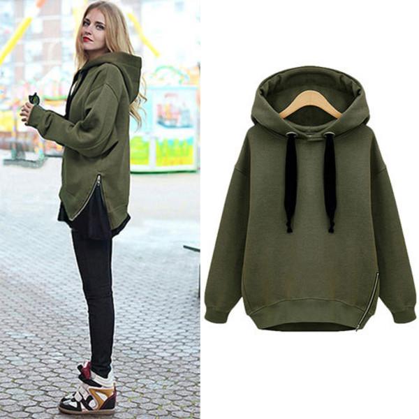shirt sweatshirt army green zip hood