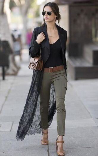 pants coat lace model off-duty streetstyle sandals spring outfits alessandra ambrosio