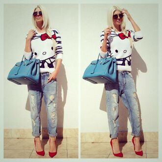 hello kitty sweater ripped jeans boyfriend jeans red pumps high heels hermes hermes bag blue bag sunglasses red shoes