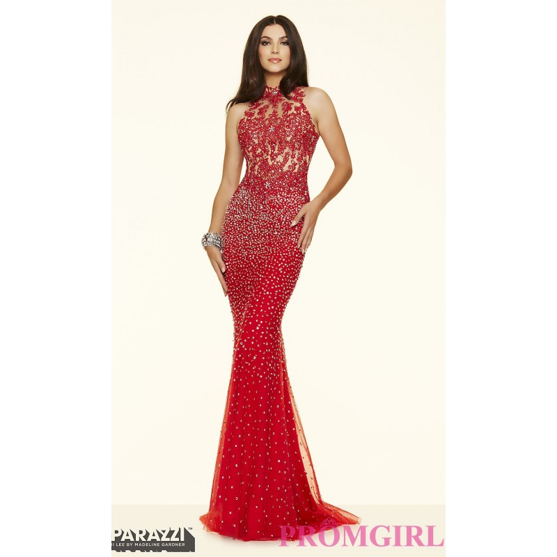 Sheer Beaded High Neck Prom Dress by Mori Lee - Discount Evening ...