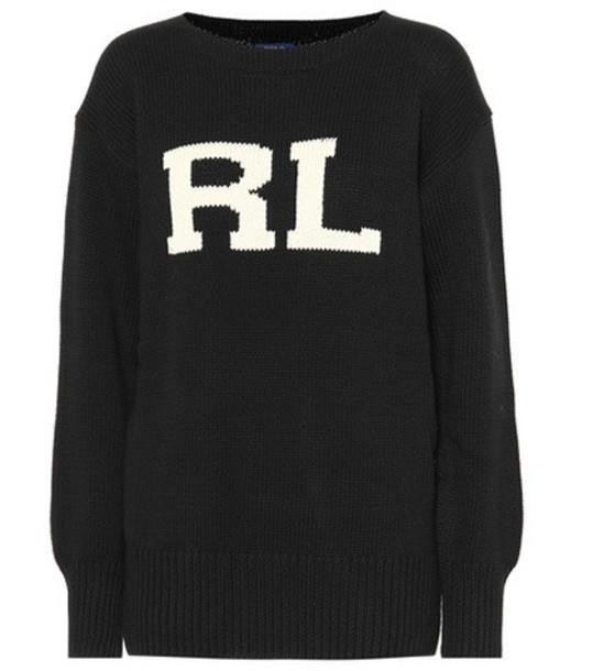 Polo Ralph Lauren Initials cotton sweater in black