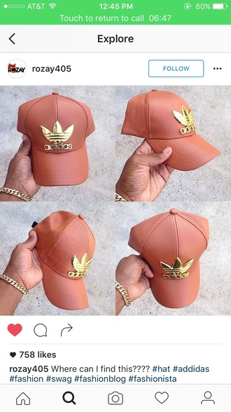 hat adidas faux leather hat pink gold adidas hat