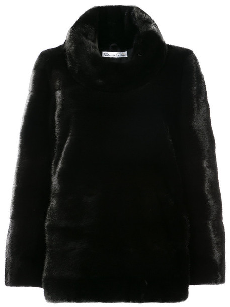 oscar de la renta top fur women black silk