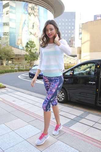 leggings top sneakers sweater miranda kerr sportswear mesh shoes