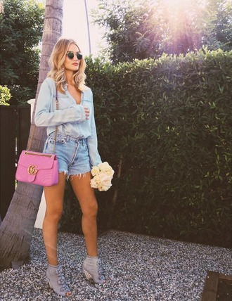 shorts denim shorts denim shirt rosie huntington-whiteley model off-duty sandals instagram sunglasses purse bag model