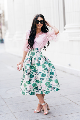 brittanymaddux blogger skirt blouse shoes bag pretty skirt shiny skirt satin skirt silk skirt midi floral skirt