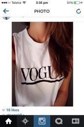 shirt,white,vogue,tank top,top,white top,vogue shirt,fashion,black writing
