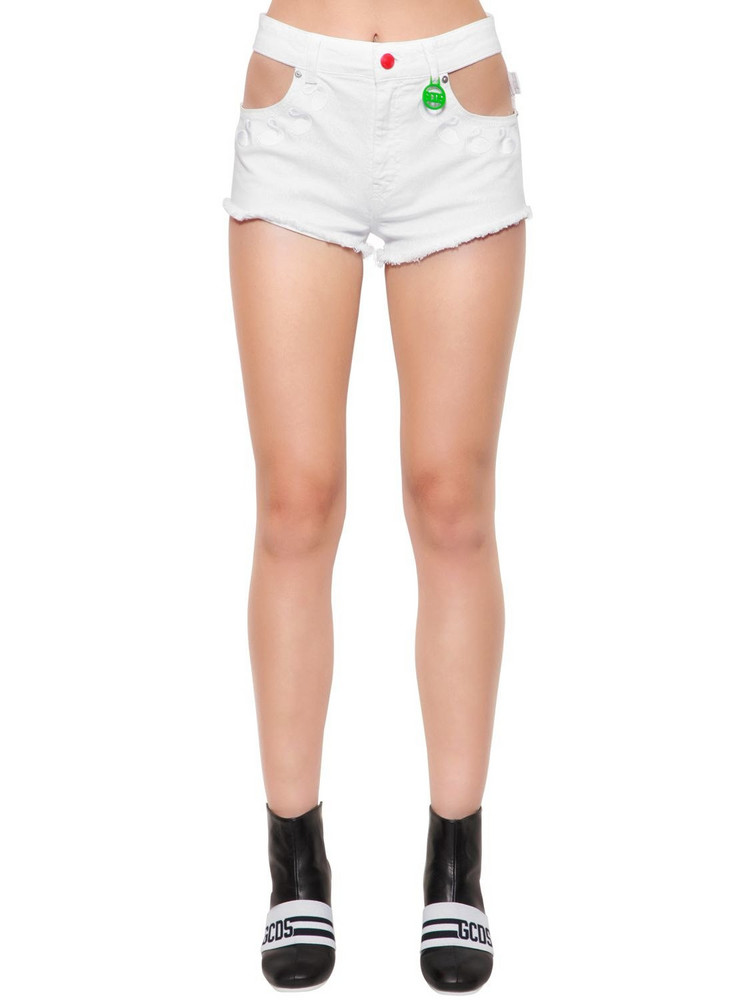 GCDS Swan Embroidered Denim Shorts W/ Cutouts in white
