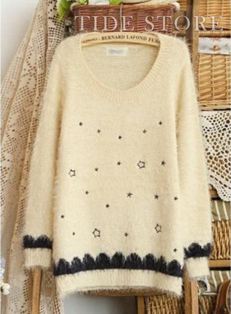 Exquisite Korean New Arrival Five-Pointed Star Print Embroidery Sweater : tidestore.com