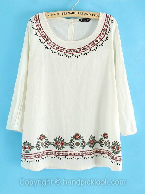White Round Neck Long Sleeve Embroidery Loose T-Shirt - HandpickLook.com