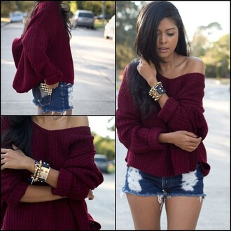 sweater burgundy burgundy sweater sexy cute off the shoulder off the shoulder sweater blogger lookbook casual fall outfits fall sweater denim studs college fall colors accessories urban style oversized sweater oversized loose