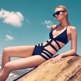 Hot selling hot selling hot sexy fashion one piece swimwear black one piece cutout type hot spring beach-inBikinis Set from Apparel & Accessories on Aliexpress.com