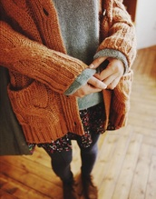 skirt,floral,love more,sweater,coat,cardigan,brown,shoes,knitwear,girl,fall outfits,winter outfits,flowers,jacket,orange,knitted cardigan,beautiful,hippie,vintage,indie