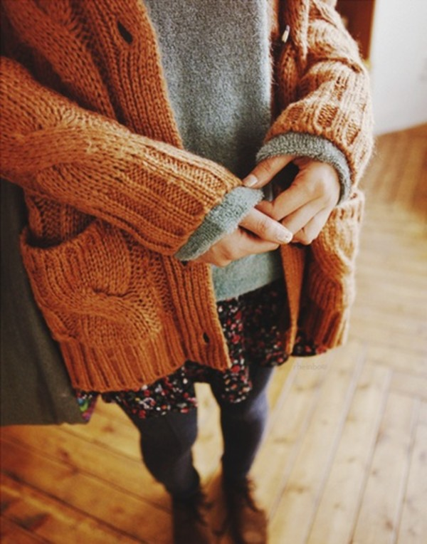 skirt floral love more sweater coat cardigan brown shoes knitwear girl fall outfits winter outfits flowers jacket orange knitted cardigan fall outfits beautiful hippie vintage indie fall outfits