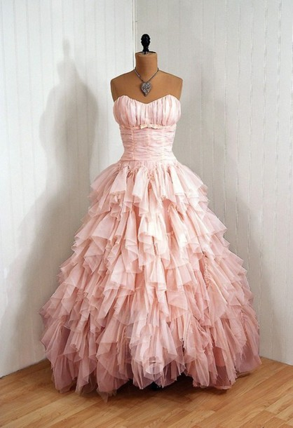 Dress Prom Pink Puffy Pretty Wedding Ruffle Floor Length Nice Dresses Beautiful