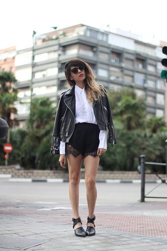 blouse jacket lace shorts blogger sunglasses joellen love