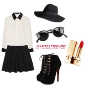 hat,american,american horror story,horror,black and white,black,white,sunglasses,shirt,skirt,shoes
