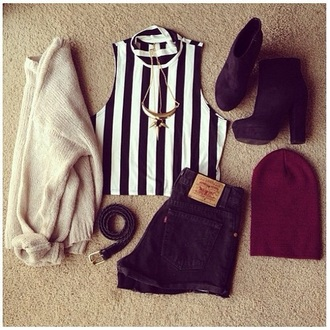 blouse black crop top stripes cardigan hat shoes