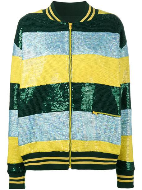 Ashish - Sequin striped bomber jacket - women - Silk/Cotton/Polyester - XXS, Silk/Cotton/Polyester