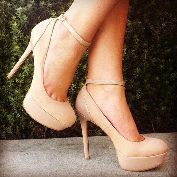 68b5a27ced6 shoes beige nude heels platform heels pumps prom shoes strappy heels
