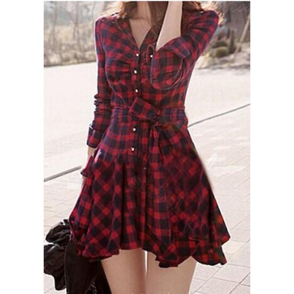 dress red plaid stylish waisted shirt dress red plaid