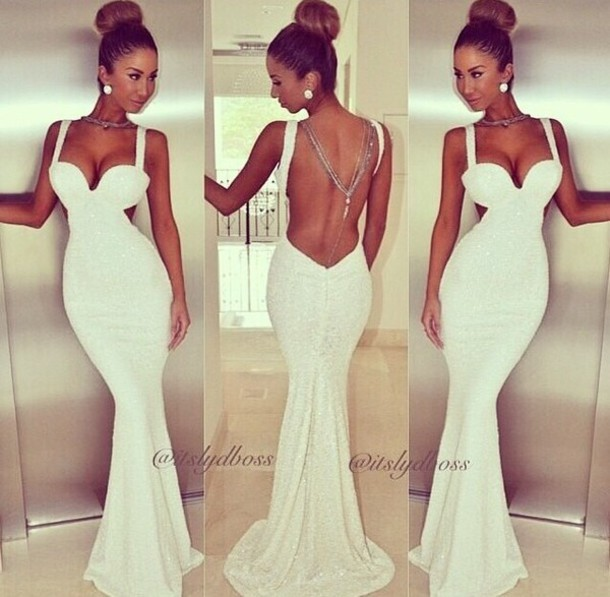 Celebrity Brand New 2014 summer vintage white fishtail Bodycon Dresses gown strape plunge deep V neck Evening Party Prom OM144-in Dresses from Apparel & Accessories on Aliexpress.com | Alibaba Group