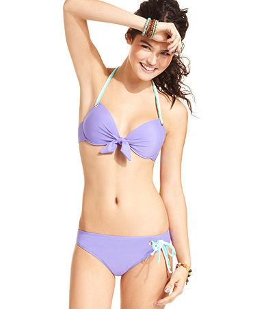 03edec67e24e4 California Waves Swimsuit, Halter Tie-Front Push-Up Bikini Top - Swimwear -  Women - Macy's