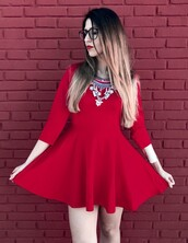 dress,red dress,red,romwe,skater dress,fashion,fashion and style,fashion inspo,passions for fashion,fashion addict,outfit,outfit idea,cute outfits,spring outfits,ootd,ootd dress,ootdfashion,lookbook,blogger,blogger chic,romwe fashion