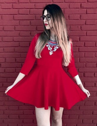 dress red dress red romwe skater dress fashion fashion and style fashion inspo passions for fashion fashion addict outfit outfit idea cute outfits spring outfits ootd ootd dress ootdfashion lookbook blogger blogger chic romwe fashion