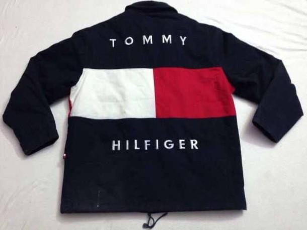 Jacket Vintage White Blue Red Tommy Hilfiger Jacket Tommy