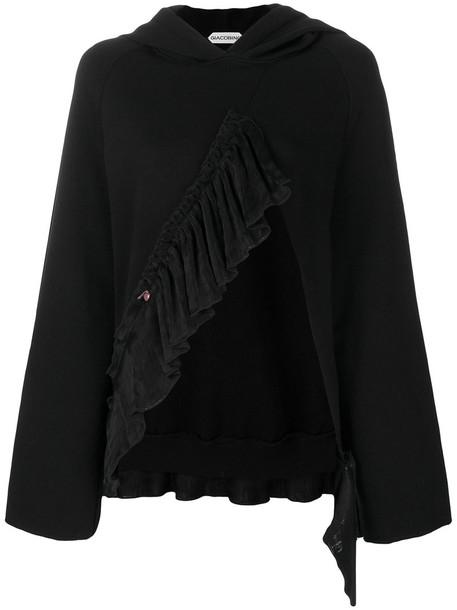 Giacobino hoodie open ruffle women cotton black sweater