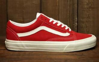 shoes vans red white old skool vintage
