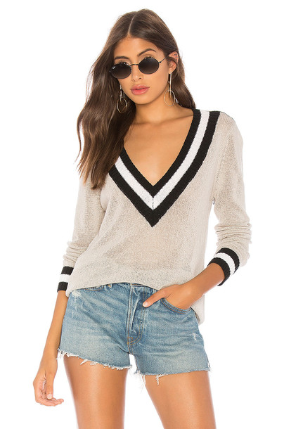 by the way. Bobbie V Neck Sweater in gray