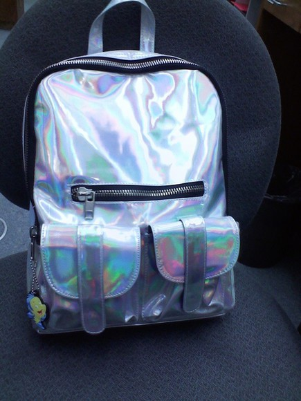 zipper bag cute flashy backpack bookbag pockets reflective colors
