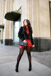 hautepinkpretty,blogger,dress,coat,jacket,shoes,bag,ankle boots,chanel bag,fall outfits,red dress,black jacket