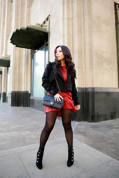 hautepinkpretty blogger dress coat jacket shoes bag ankle boots chanel bag fall outfits red dress black jacket