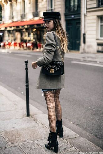 coat tumblr grey coat denim skirt mini skirt bag black bag hat black hat boots black boots high heels boots thick heel block heels mini skirt and ankle boots french girl style fishnet tights